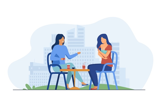 신생아와 함께 카페에 앉아 쾌활 한 여성입니다. 아기, 어머니, 유방 평면 그림. 모성 및 수유