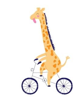 Cheerful yellow giraffe is racing on a bicycle.