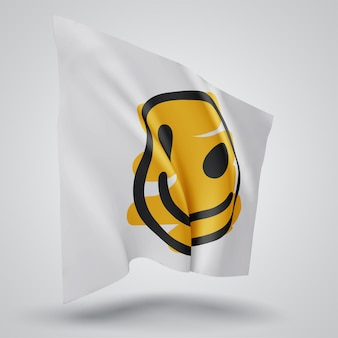 Cheerful yellow smile vector 3d flag isolated on white background