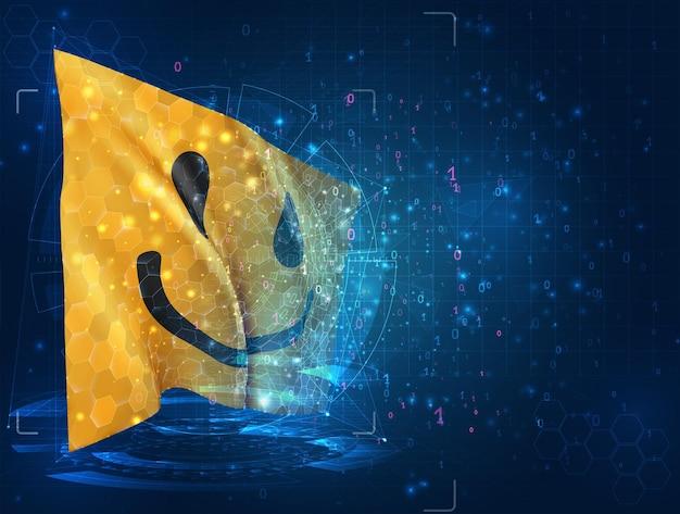 Hud 인터페이스가 있는 파란색 배경에 밝은 노란색 미소 벡터 3d 플래그