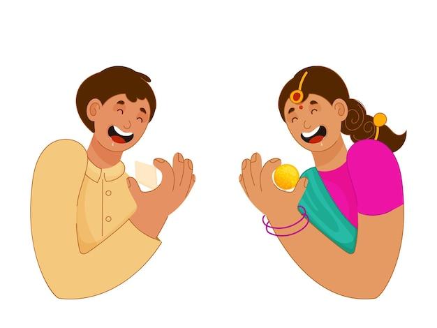 쾌활 한 어린 소년과 소녀 흰색 배경에 과자를 들고.