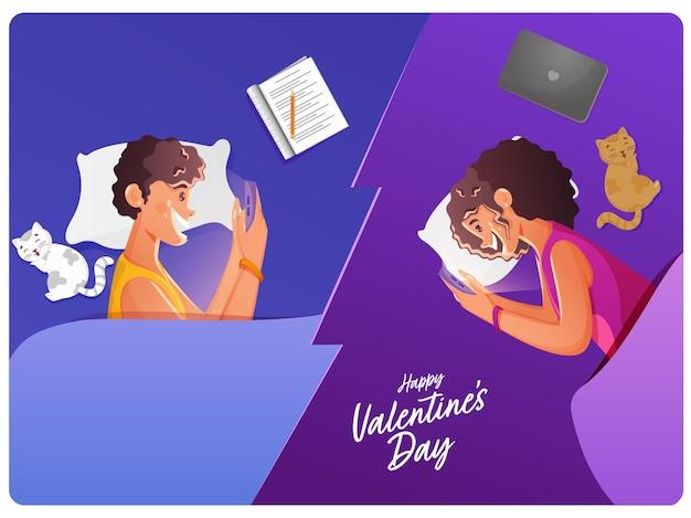 幸せなバレンタインデーの機会にスマートフォンを介して互いに話している陽気な若いカップル。