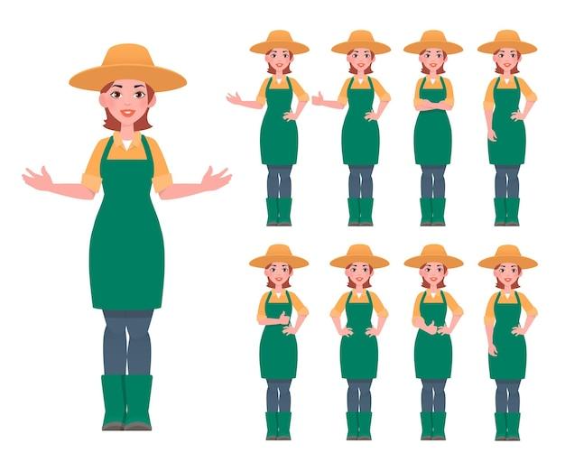 쾌활 한 젊은 농부 소녀