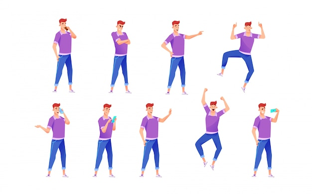 Cheerful young guy in denim jeans, t-shirt various poses, gestures and emotions  set.