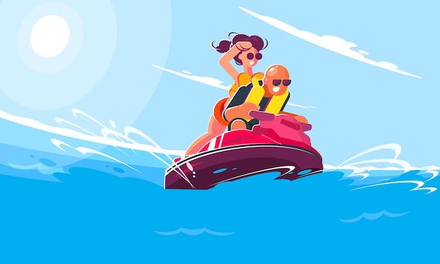 Веселый молодой парень с девушкой катаются на водном скутере по морю в солнечный летний день. плоский стиль иллюстрации улыбающихся персонажей, занимающихся активными видами спорта и развлечений.