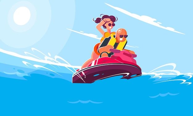Cheerful young guy with a girl ride a water scooter on the sea on a sunny summer day. flat style illustration of smiling characters engaged in active sports and entertainment. Premium Vector