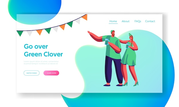 Cheerful young irish couple celebrate saint patrick day landing page. merry reveller drink beer wear traditional green clothes. friend smile website or web page. flat cartoon vector illustration
