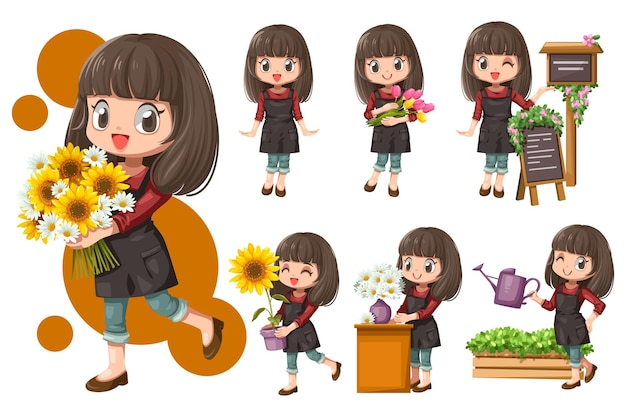 Cheerful young woman florist in apron holding a bouquet of flowers