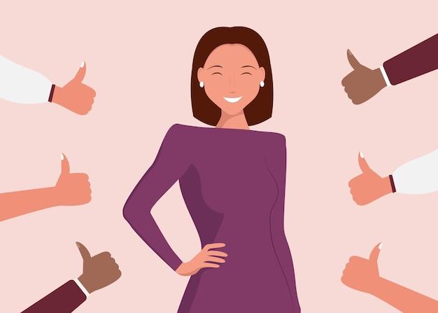 쾌활 한 젊은 여자는 아래로 엄지 손으로 둘러싸여 있습니다. 대중의 비 승인, 청중의 비 인식, 부정적인 의견의 개념.