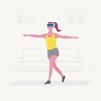 쾌활한 젊은 여자가 집에서 스포츠를 위해 가상 현실 기술을 사용