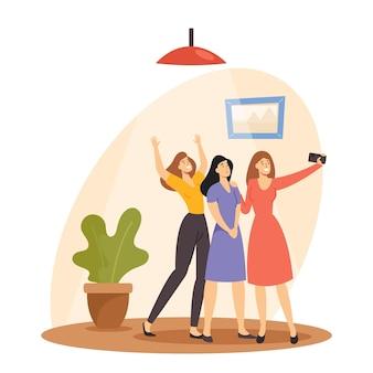 Веселые молодые женщины, делающие селфи на мобильном телефоне, позируют и жесты на камеру. подруги счастливы встречи и расслабиться