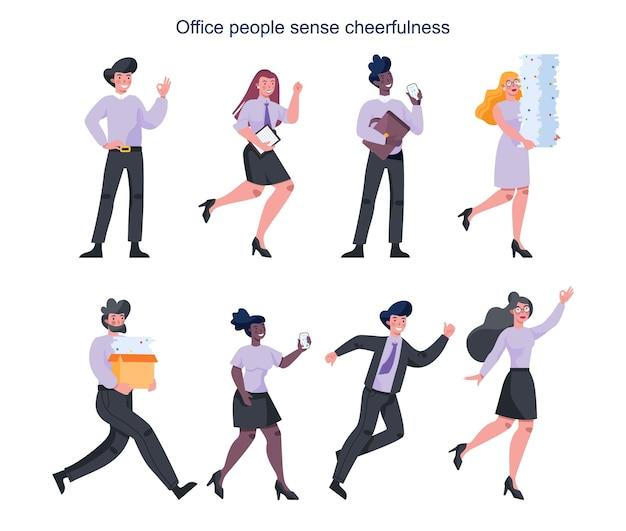 元気いっぱいのビジネスの女性と男性のセット。スーツで幸せで成功した従業員。喜びと達成の概念。チームワークのお祝い。