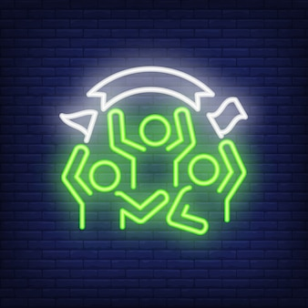 Cheering fans on brick background. neon style illustration. match, game, spectators.