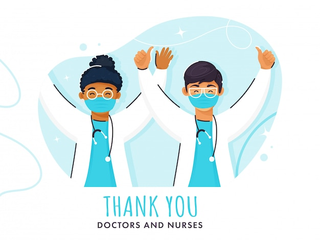 Cheering or successful doctors character and thank you text on abstract blue background.