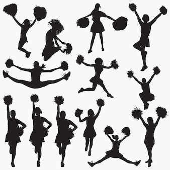 Cheerleader 1 vector silhouettes