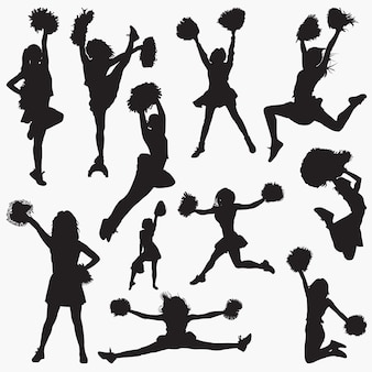 Cheerleader 2 vector silhouettes
