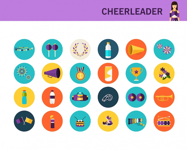 Cheerleader concept flat icons.