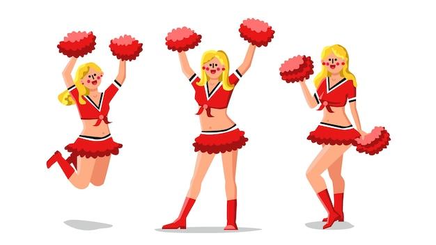 Cheerleader girls dancers with pompoms