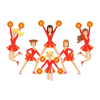 Cheerleader girls with pompoms dancing to support football team during competition. . colorful cartoon character  illustration