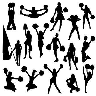 Cheerleader woman sport silhouette clip art