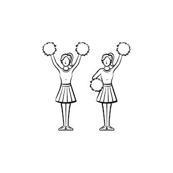 ポンポン手描きのアウトライン落書きアイコンとチアリーダーの女性。女の子のチアリーダーは、白い背景で隔離の印刷物、ウェブ、モバイル、インフォグラフィックのスケッチイラストをベクトルします。