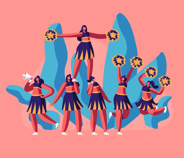Cheerleaders team in uniform making pyramid on football stadium event or sports competition.