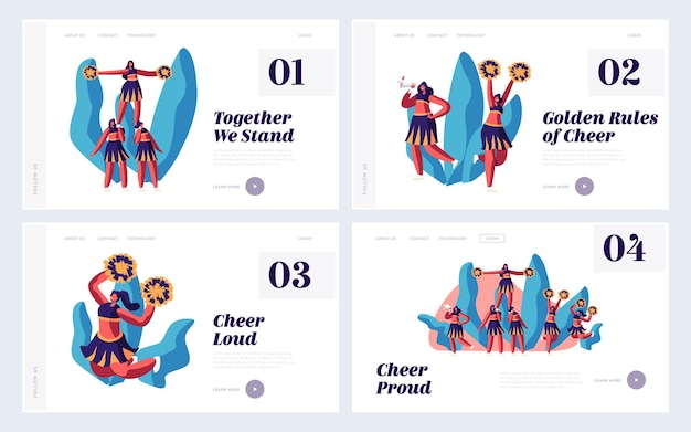 Cheerleading website landing page set