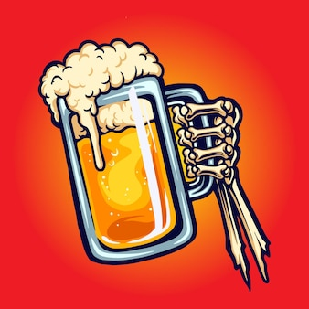 건배 맥주 유리 토스트 손 뼈 벡터 삽화 로고, 마스코트 상품 티셔츠, 스티커 및 라벨 디자인, 포스터, 인사말 카드 광고 비즈니스 회사 또는 브랜드.