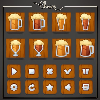 乾杯、ドラフトビアグラスとマグカップ、モバイルゲーム用のオブジェクトとボタン