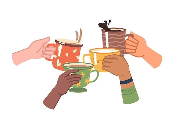 カップに入ったコーヒーやお茶の飲み物で手を乾杯