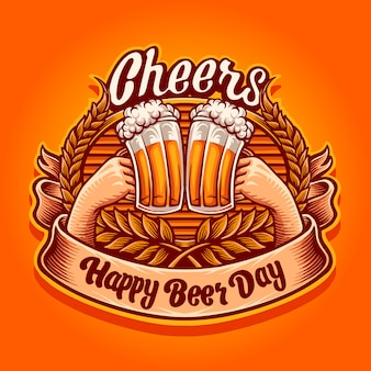 Cheers, happy beer day illustration