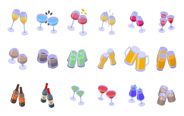 Cheers icons set. isometric set of cheers  icons for web  isolated on white background