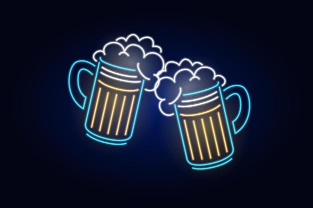 ガラスのファッションサインナイトライト看板が光る乾杯ネオンビールを乾杯