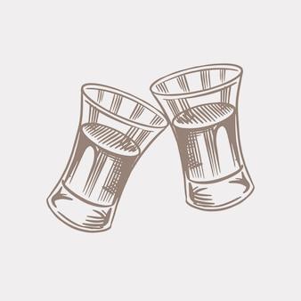 건배 건배. 빈티지 아메리칸 코냑 또는 주류 배지. 포스터 배너 알코올 레이블입니다. 강한 음료와 함께 유리 샷. 손으로 그린 티셔츠에 새겨진 스케치 글자.
