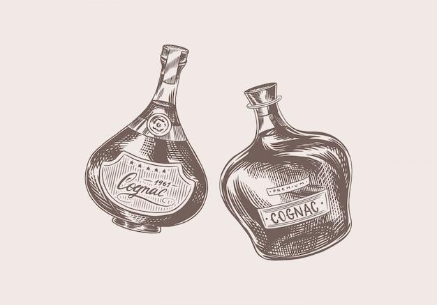 건배 건배. 빈티지 코냑 배지. 포스터 배너 알코올 레이블입니다. 강한 음료와 브랜디 한 병. 손으로 그린 티셔츠에 새겨진 스케치 글자.