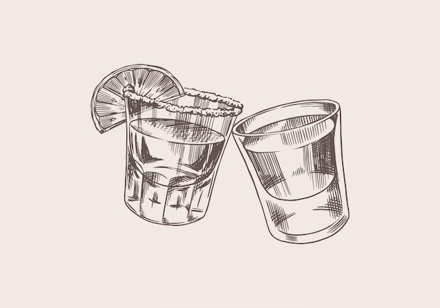 건배 건배. 빈티지 멕시코 데킬라 배지. 강한 음료와 함께 유리 샷. 포스터 배너 알코올 레이블입니다. 손으로 그린 티셔츠에 새겨진 스케치 글자.
