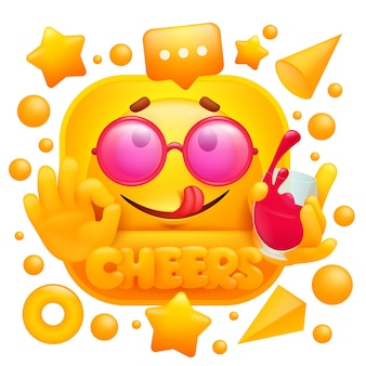 Cheers web sticker. yellow emoji character with glass of wine in cartoon style