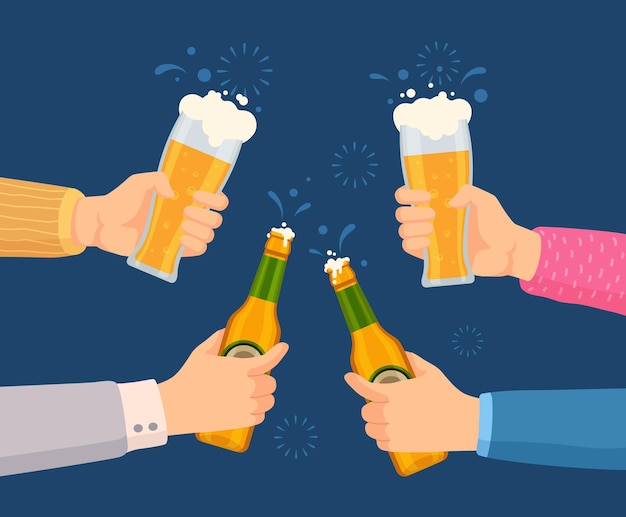 Cheers with beer glasses. hands holding glass and bottles with alcohol drinks. friends toast on pub or bar party. oktoberfest vector concept. illustration beer pub, bar lager toast