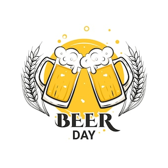 Cheers with beer mugs international beer day august