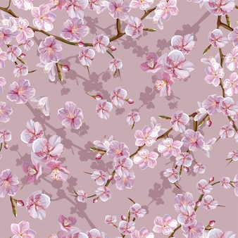 Cheery blossom  seamless pattern