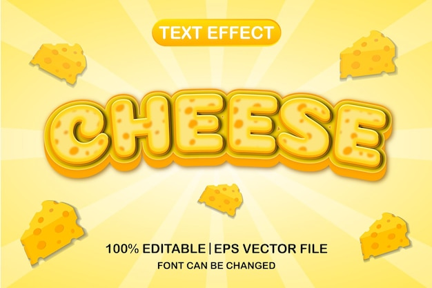 치즈 3d 편집 가능한 텍스트 효과