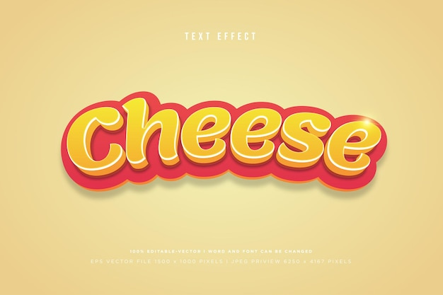 Cheese 3d text effect on peach background