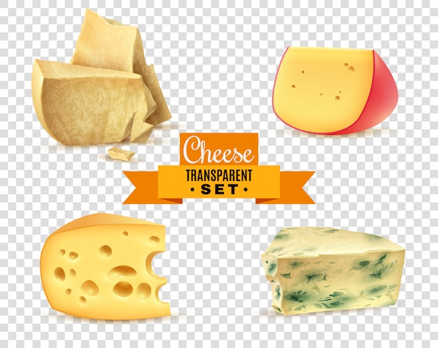 Cheese 4 realistic images transparent set