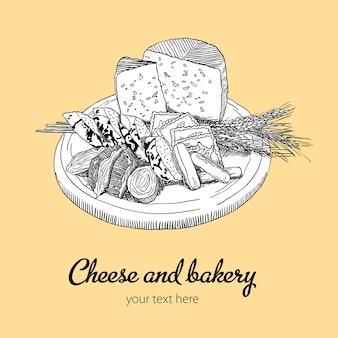 チーズとパン屋のイラスト