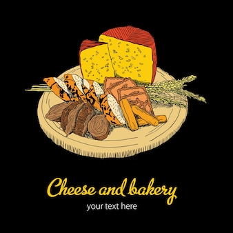 Шаблон сыр и хлебобулочные с тарелкой еды