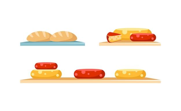 치즈와 빵은 평면 색상 개체 세트를 표시합니다. 빨간색과 노란색 둥근 치즈. 수제 빵. 웹 그래픽 디자인 및 애니메이션 컬렉션에 대한 격리 된 만화 그림