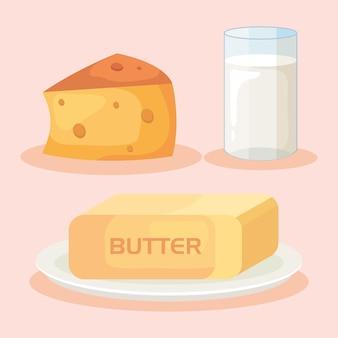버터와 치즈와 우유 컵