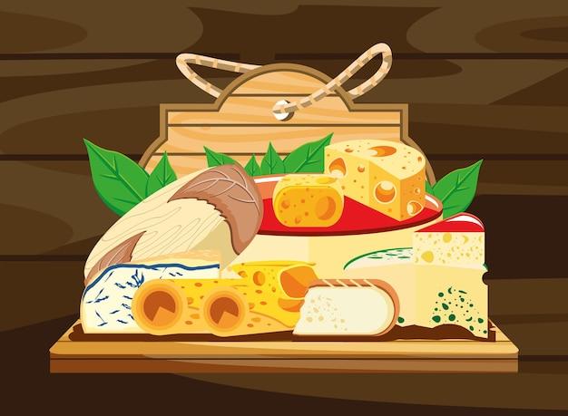 木の上のチーズの品揃え