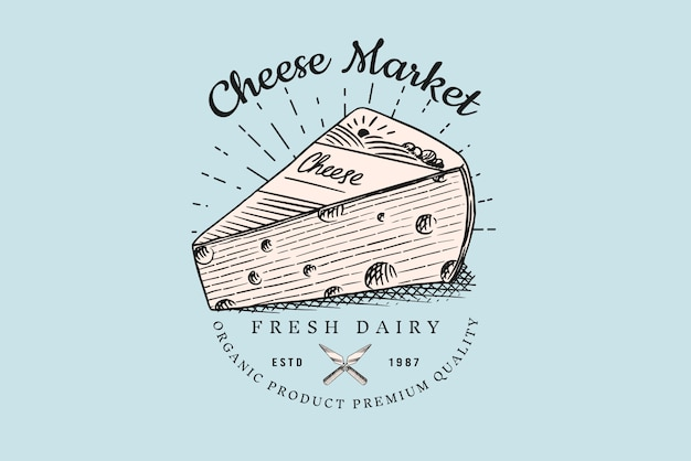 Значок сыра. винтажный логотип для рынка или продуктового магазина.