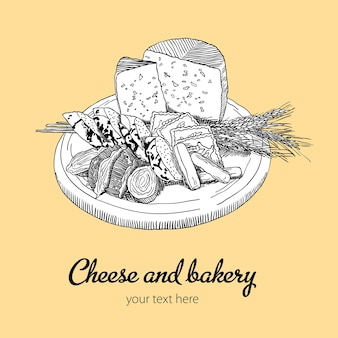 Cheese and bakery illustration